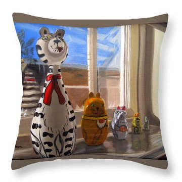 Throw Pillow featuring the painting Nested Cats by LaVonne Hand