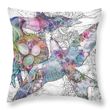 Throw Pillow featuring the digital art Nesting 3 by Ursula Freer
