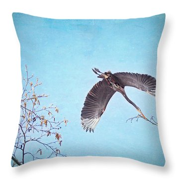 Throw Pillow featuring the photograph Nesting Heron by Peggy Collins
