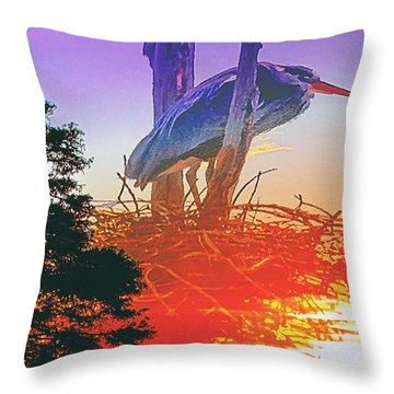 Nesting Heron - Summer Time Throw Pillow