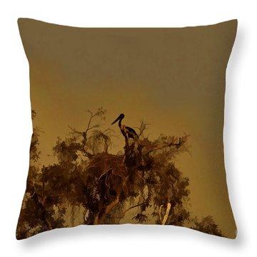 Nesting Jabiru  Throw Pillow by Douglas Barnard