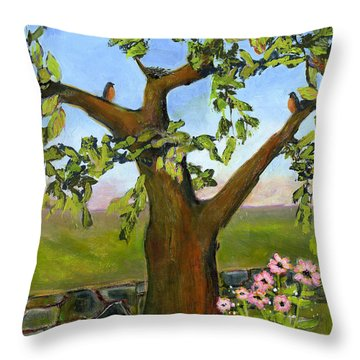Nesting Tree Throw Pillow by Blenda Studio