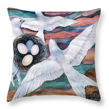 Throw Pillow featuring the digital art Nesting by Ursula Freer