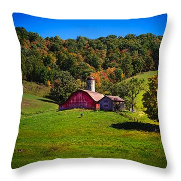 nestled in the hills of West Virginia Throw Pillow by Shane Holsclaw