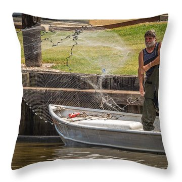 Throw Pillow featuring the photograph Net Fishing In Delcambre La by Gregory Daley  PPSA