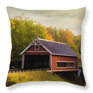 Netcher Road Covered Bridge Throw Pillow