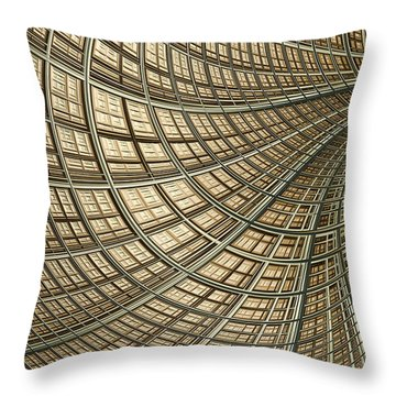 Network Gold Throw Pillow by John Edwards
