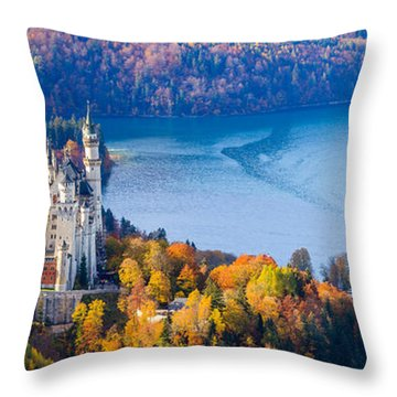 Neuschwanstein And Hohenschwangau Castle In Autumn Colours Throw Pillow