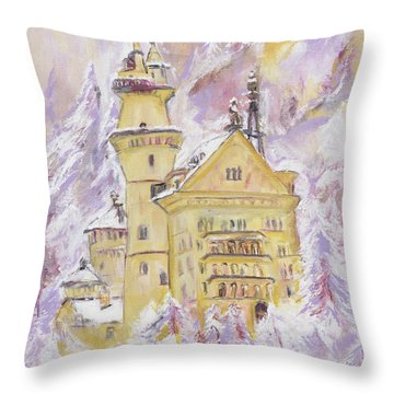 Throw Pillow featuring the painting Neuschwanstein Castle  by Helena Bebirian