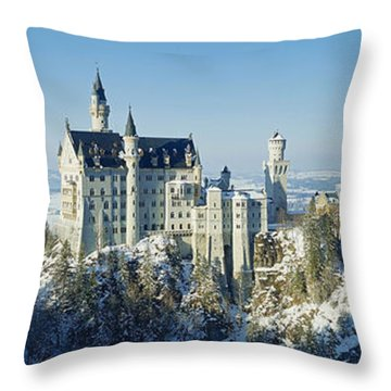 Neuschwanstein Castle Panorama In Winter 2 Throw Pillow
