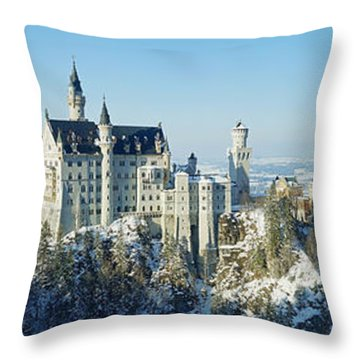 Neuschwanstein Castle Panorama In Winter Throw Pillow by Rudi Prott