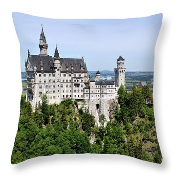Neuschwanstein Castle Throw Pillow by Rick Frost