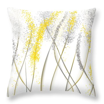 Neutral Sunshine - Yellow And Gray Modern Art Throw Pillow