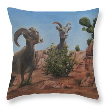 Throw Pillow featuring the painting Nevada Big Horns by Roseann Gilmore