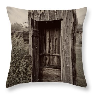Nevada City Ghost Town Outhouse - Montana Throw Pillow by Daniel Hagerman