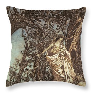 Never So Weary Never So Woeful Illustration To A Midsummer Night S Dream Throw Pillow by Arthur Rackham