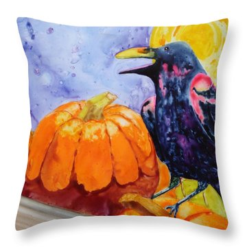 Nevermore Throw Pillow by Nancy Jolley