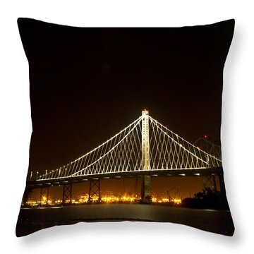 New Bay Bridge Throw Pillow by Bill Gallagher