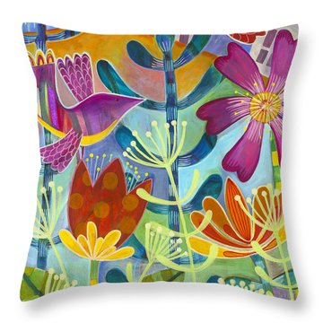 Throw Pillow featuring the painting New Beginning by Carla Bank