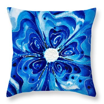 New Blue Glory Flower Art - Buy Prints Throw Pillow by Sharon Cummings