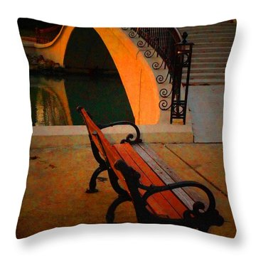 New Bridge And Bench Throw Pillow