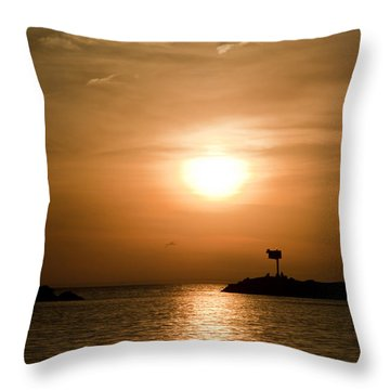 New Buffalo Sunset Throw Pillow by John Crothers