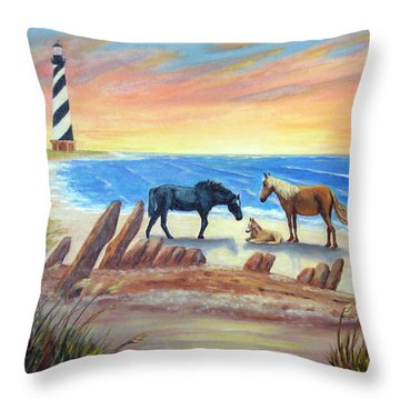 New Day - Hatteras Throw Pillow by Fran Brooks
