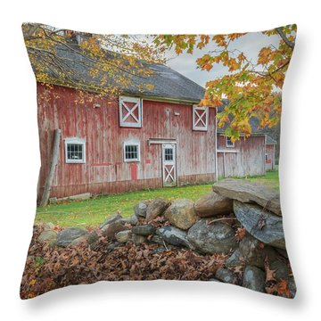 New England Barn Throw Pillow by Bill Wakeley