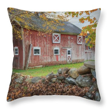 New England Barn Square Throw Pillow by Bill Wakeley