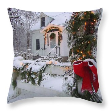 New England Christmas Throw Pillow by Elizabeth Dow