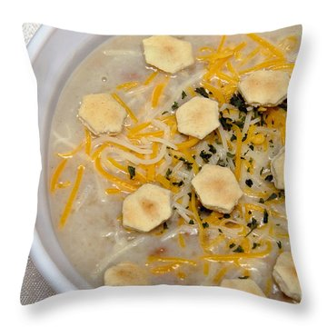 New England Clam Chowder Throw Pillow