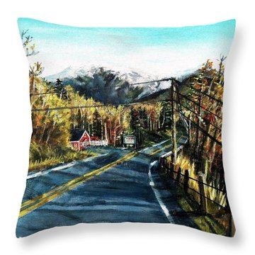 Throw Pillow featuring the painting New England Drive by Shana Rowe Jackson