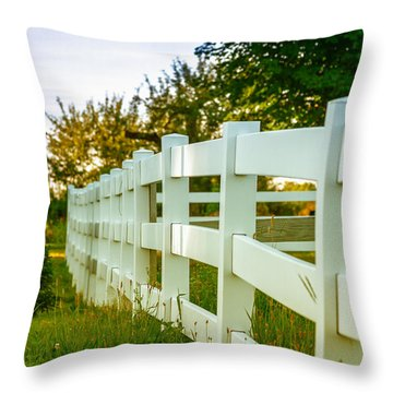 New England Fenceline Throw Pillow by Brian Caldwell