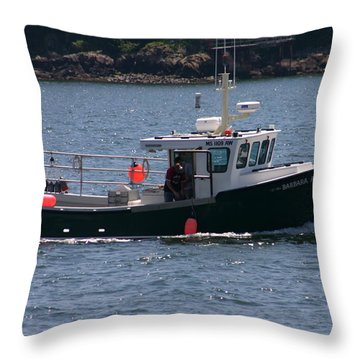 New England Fishing Boat Throw Pillow by Denyse Duhaime
