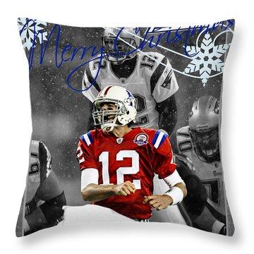 New England Patriots Christmas Card Throw Pillow