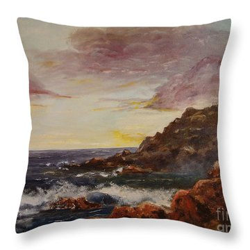 Throw Pillow featuring the painting New England Storm by Lee Piper