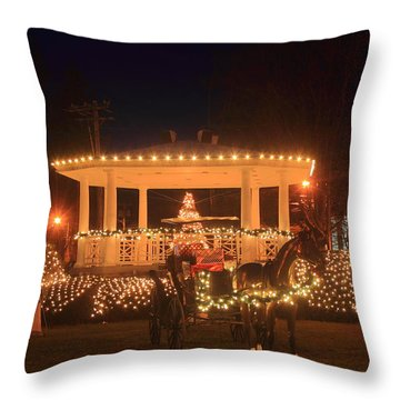 New England Town Common Holiday Scene Throw Pillow by John Burk