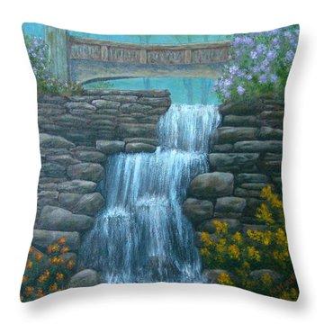 New England Waterfall Throw Pillow by Pamela Allegretto
