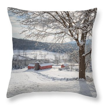 New England Winter Farms Morning Throw Pillow by Bill Wakeley