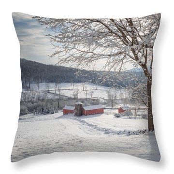 New England Winter Farms Morning Square Throw Pillow by Bill Wakeley