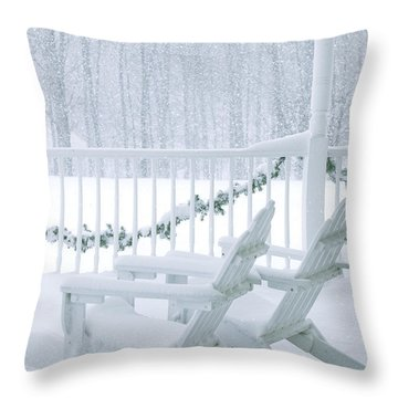 New England Winter Porch Throw Pillow