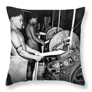New Guinea Rubber Production Throw Pillow