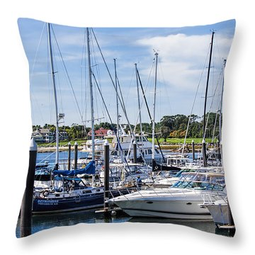 New Hampshire Marina Throw Pillow by Fred Larson