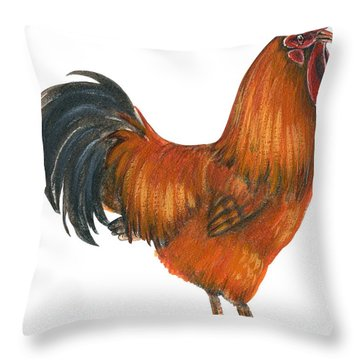 New Hampshire Rooster  Throw Pillow by Anonymous