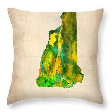New Hampshire Watercolor Map Throw Pillow by Naxart Studio