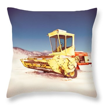 New Holland 910 Windrower Throw Pillow by Yo Pedro
