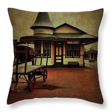 Throw Pillow featuring the photograph New Hope Ivyland Train Station by Debra Fedchin