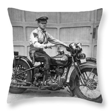 New Jersey Motorcycle Trooper Throw Pillow