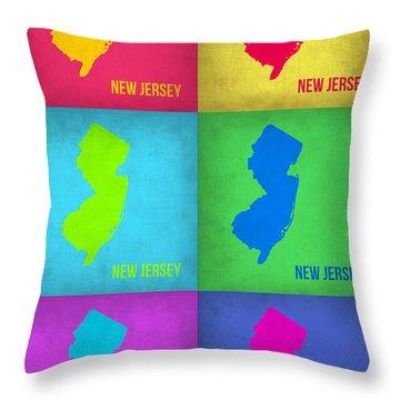 New Jersey Pop Art Map 1 Throw Pillow by Naxart Studio