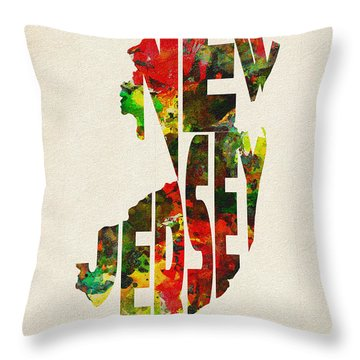 New Jersey Typographic Watercolor Map Throw Pillow